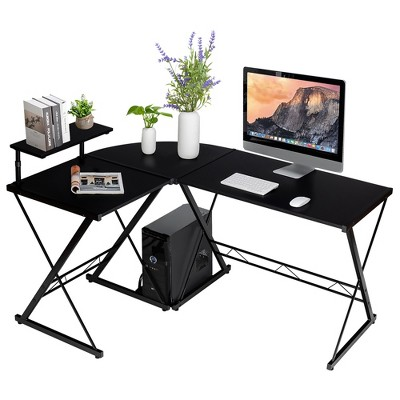 Costway 58'' x 44'' L-Shaped Computer Gaming Desk w/ Monitor Stand & Host Tray Home Office