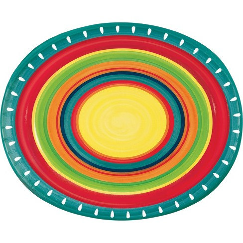 24ct Summer Stoneware Oval Plates Red - image 1 of 1