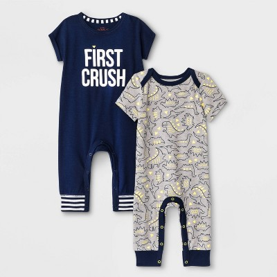 "Baby Boys' 2pk ""First Crush"" & Dino Rompers - Cat & Jack™ Blue/Gray 3-6M"