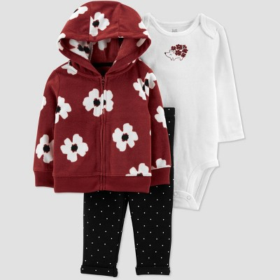Baby Girls' Floral Hoodie Top & Bottom Set - Just One You® made by carter's Brown 3M