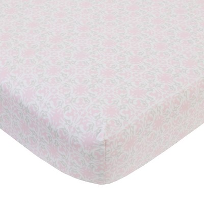 NoJo Serendipity Pink Medallion Cotton Fitted Crib Sheet