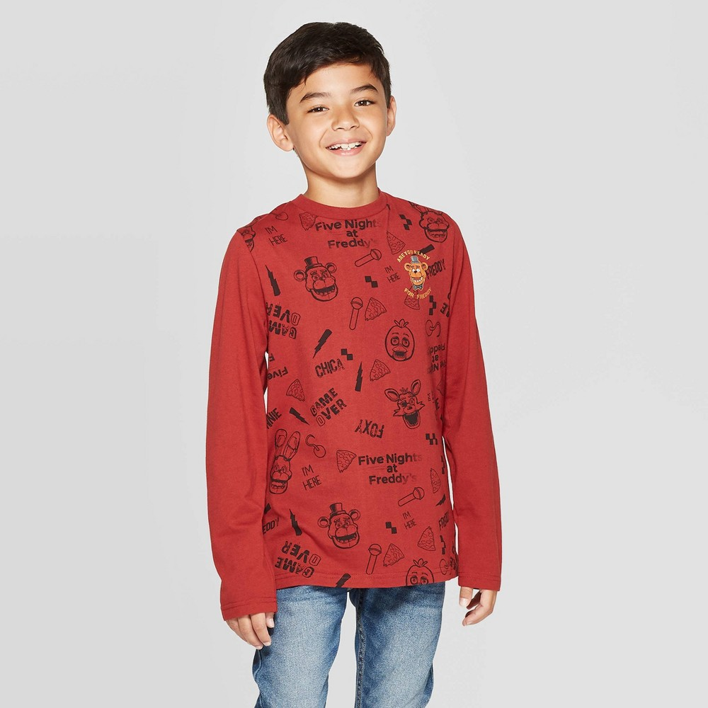 Image of Boys' Five Nights at Freddy's Long Sleeve T-Shirt - Red L, Boy's, Size: Large