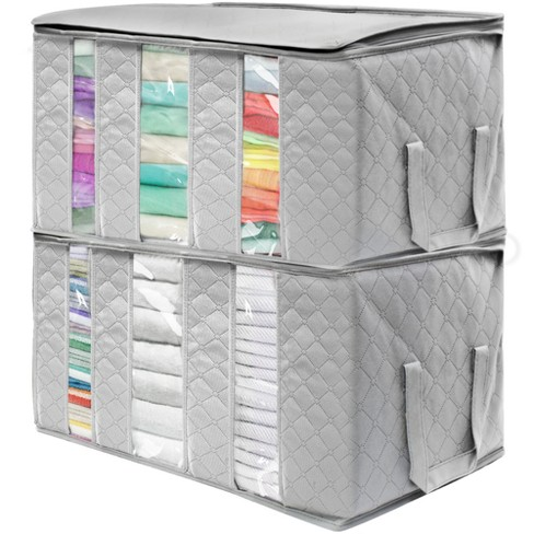 "Sorbus 2pk Foldable Fabric Storage Organizer Bag 3 Sectional 24""x11"" Gray - image 1 of 4"