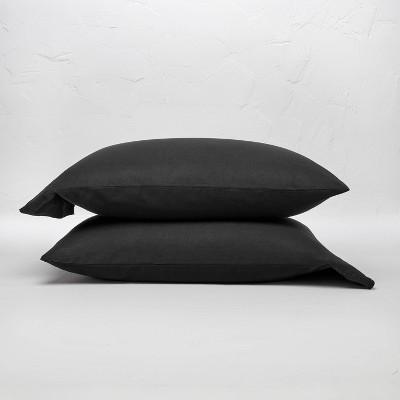 Standard 100% Washed Linen Solid Pillowcase Set Washed Black - Casaluna™