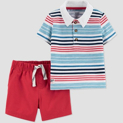 Baby Boys' 2pc Striped Top & Bottom Set - Just One You® made by carter's Red 12M