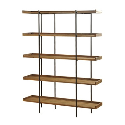 """72"""" Bryan Keith Five Shelf Bookcase Natural/Black - Stylecraft"""