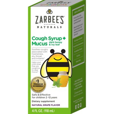 Zarbee's Naturals Children's Cough & Mucus Reducer Syrup - Natural Grape - 4 fl oz