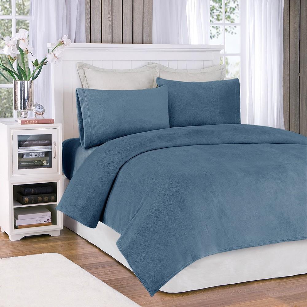 Soloft Plush Sheet Set - Sapphire (Full), Blue