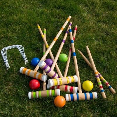 Hey! Play! Wooden Croquet Set with Carrying Case