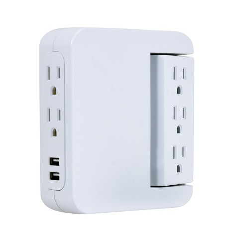 GE Pro 5-Outlet Surge Protector Wall Tap with Swivel Access, White - image 1 of 4