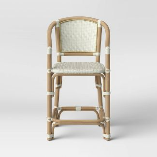 Parksley Rattan and Woven Counter Height Barstool White - Threshold™