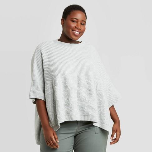 Women's Plus Layered Knit Poncho - Universal Thread™ Light Blue - image 1 of 2