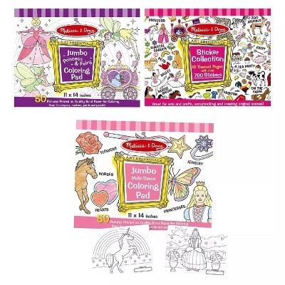 Melissa & Doug Sticker Collection And Coloring Pads Set: Princesses,  Fairies, Animals, And More : Target