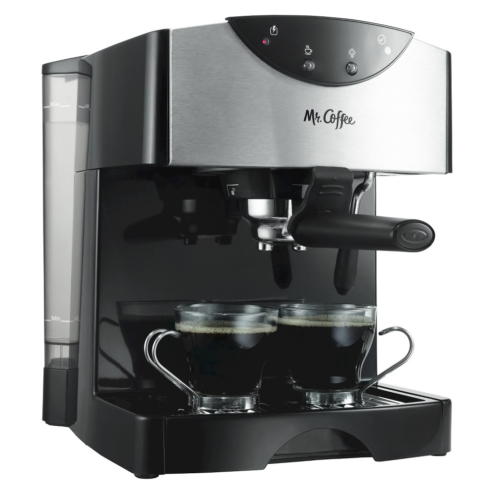 Mr. Coffee Pump Espresso Maker, ECMP50-NP, Black/Stainless For espresso enthusiasts, this barista-style Mr. Coffee Espresso creates authentic, bold espresso drinks. A thermal block heating system works to heat water fast and the 15-bar pump system brews rich, crème-topped espresso with impressive results. Choose a single or double shot porta-filter for serving size options. When a cappuccino or latte order is up, use the frother to quickly steam milk up to a creamy finish. Removable 40 oz. water reservoir makes filling easy. Includes tamping tool and recipes Color: Black/Stainless.