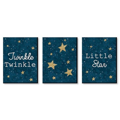 Big Dot of Happiness Twinkle Twinkle Little Star - Baby Boy Nursery Wall Art & Kids Room Decorations - Gift Ideas - 7.5 x 10 inches - Set of 3 Prints