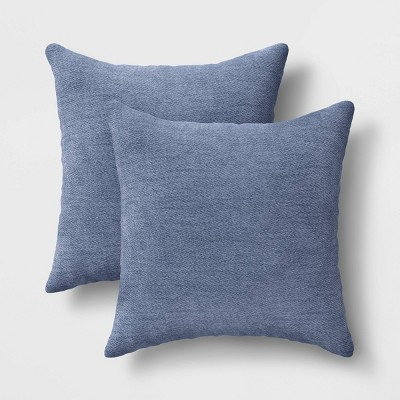 "2pk 18""x18"" Solid Chenille Square Throw Pillows Blue"
