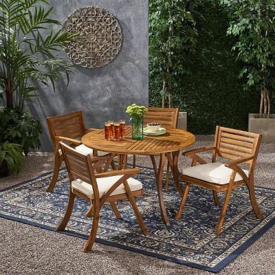 Hermosa 5pc Acacia Wood Circular Dining Set - Teak/Cream - Christopher Knight Home