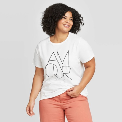 Women's Plus Size Short Sleeve Amour Graphic T-Shirt - A New Day™ White 4X - image 1 of 3