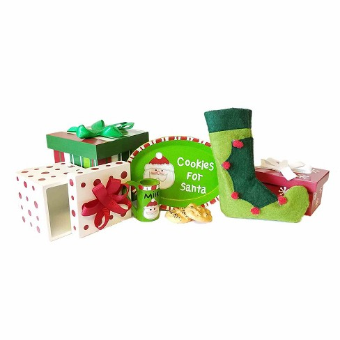 The Queen's Treasures® 18 Inch Doll Accessories, 3 Wood Christmas Boxes, Stocking, Platter, Mug, Cookies - image 1 of 4