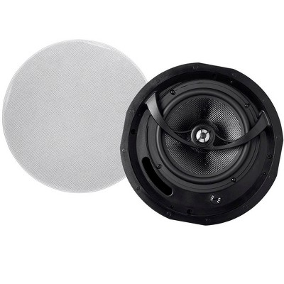 Monoprice 2-Way Carbon Fiber Ceiling Speakers - 8 Inch (Pair) With Paintable Magnetic Grille - Alpha Series