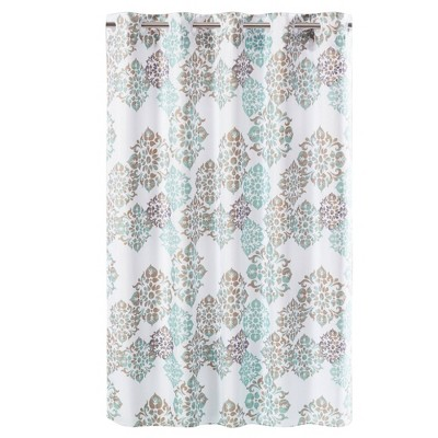 Alessandra Medallion Shower Curtain with Liner Spa Green - Hookless