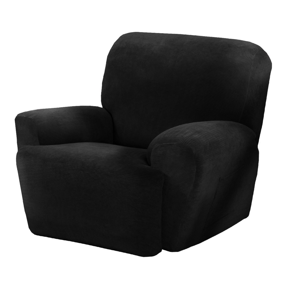 Black Collin Stretch Recliner Slipcover (4 Piece) - Maytex