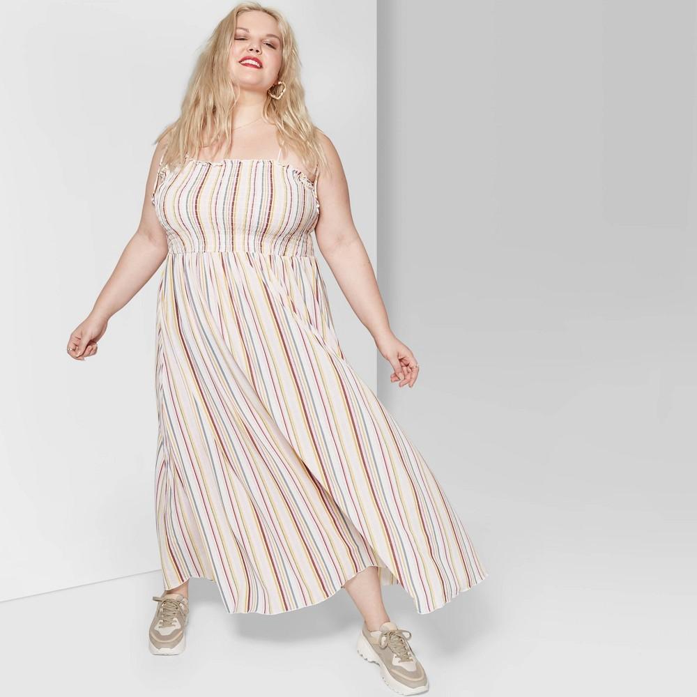 Women's Plus Size Striped Sleeveless Tie Strap Smocked Top Maxi Dress - Wild Fable Cream/Rose 3X, White