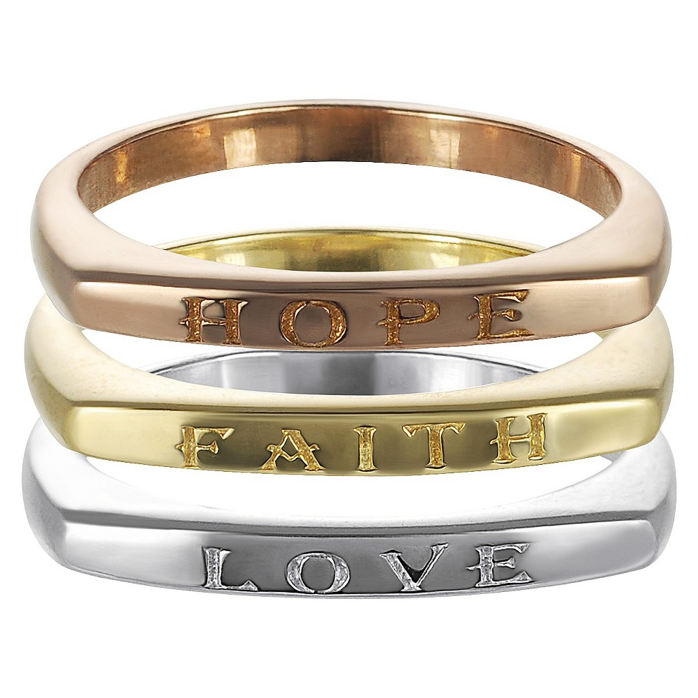 Tressa Collection Sterling Silver 3-pc Hope Love Faith Ring Set - Multi, Size: 8