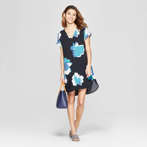 Women's Floral Print Short Sleeve V-Neck Crepe Dress - A New Day™ Navy - image 1 of 3
