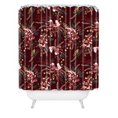 Wild Poppy Burgundy Shower Curtain Red - Deny Designs