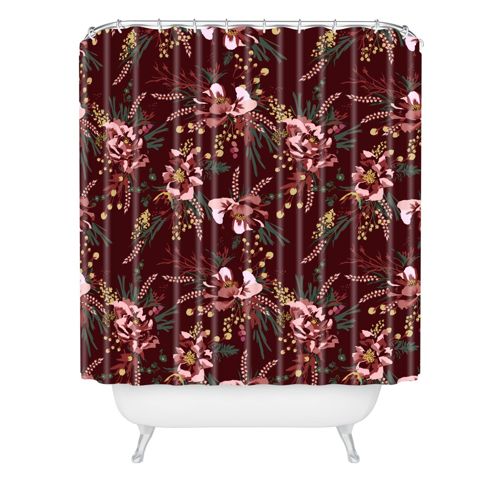 Wild Poppy Burgundy Shower Curtain Red Deny Designs