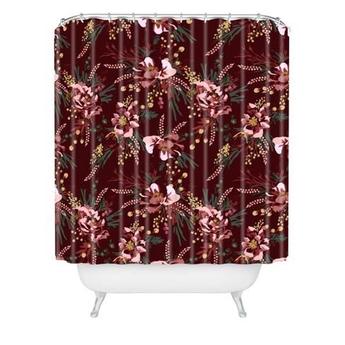 Wild Poppy Burgundy Shower Curtain Red