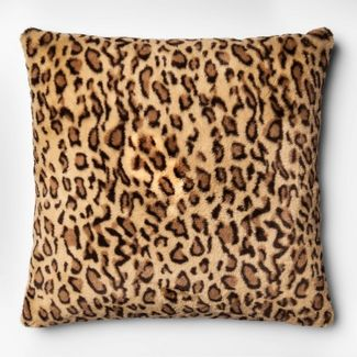 Leopard Faux Fur Oversize Square Throw Pillow Neutral - Threshold™