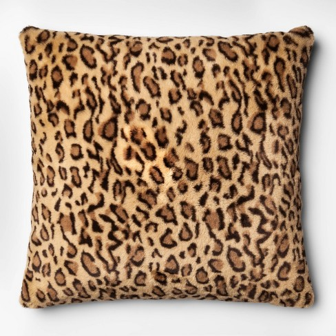 Leopard Faux Fur Oversize Square Throw Pillow Neutral - Threshold™ - image 1 of 4