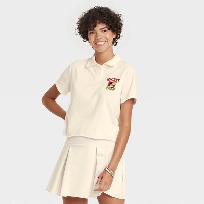 Women's Disney Mickey University Short Sleeve Cropped Graphic Polo Shirt - Ivory