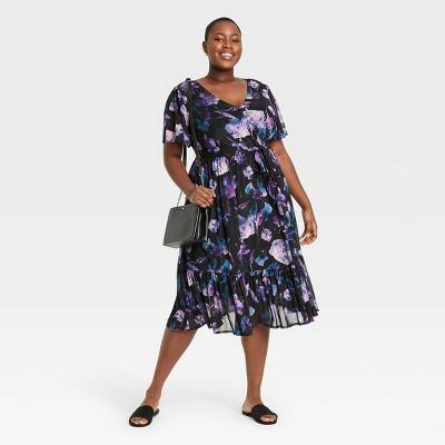 Women's Plus Size Flutter Sleeve Mesh Dress - Ava & Viv™