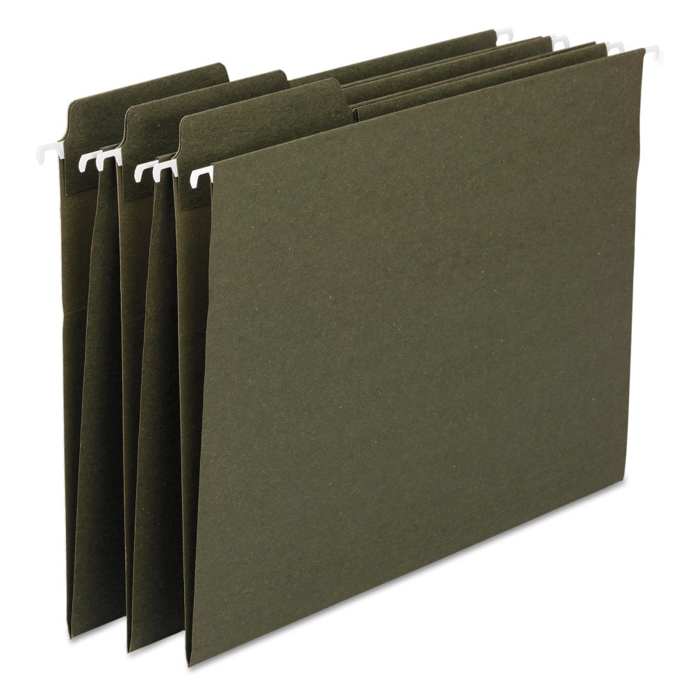 Fas Tab Recycled Hanging File Folders, Legal - Green (20 Per Box)