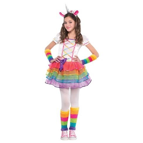 Toddler Girls' Rainbow Unicorn Halloween Costume 3T-4T - image 1 of 1