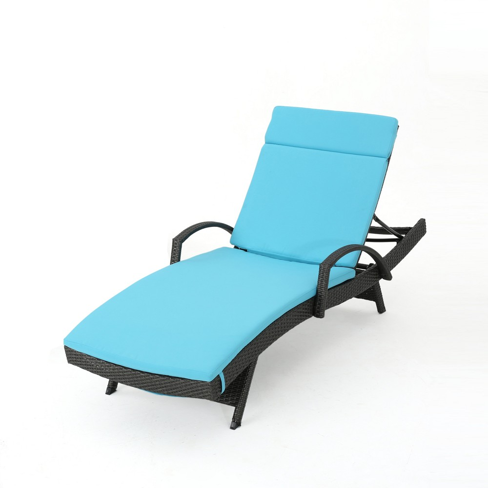 Salem Gray Wicker Adjustable Chaise Lounge with Arms - Blue - Christopher Knight Home
