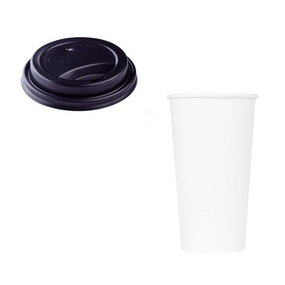 Karat Hot Drink Sipper Polypropylene Plastic Dome Lid for 10 to 24 Ounce Paper Hot Cups with 20 Ounce Poly Lined Paper Cups, Case of 600