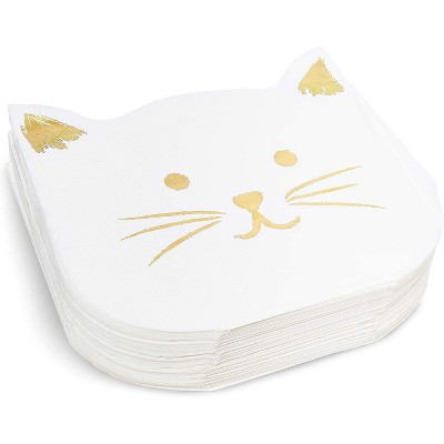 """Blue Panda 50-Pack Cat Party Napkins, White Kitten Disposable Paper Napkins for Themed Birthday Supplies, 6.5"""""""