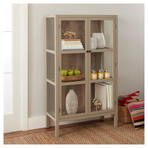 """hadley 56.2"""" library cabinet with glass - gray - threshold™"""