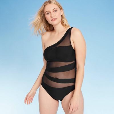 Women's One Shoulder Mesh Inset One Piece Swimsuit - Shade & Shore™ Black L