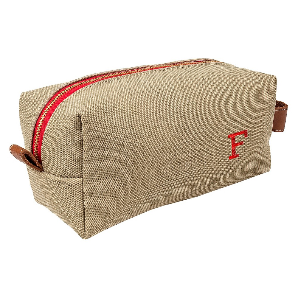 Personalized Tan Waxed Canvas & Leather Dopp Kit - F, Taupe Brown