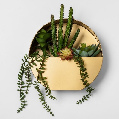 Faux Succulent in Gold Wall Planter - Project 62™