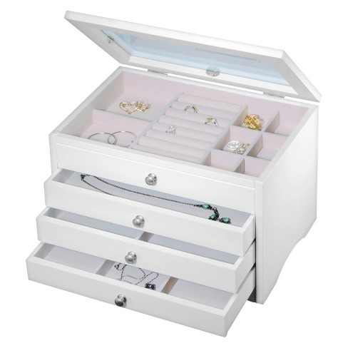 Homepointe Lift Top Wooden Jewelry Box White Target