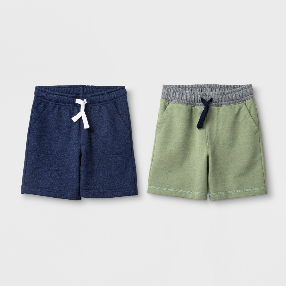 Image of Toddler Boys' Pull-On Shorts 2pk - Cat & Jack Sage 12 Months, Boy's, Size: Small, Green
