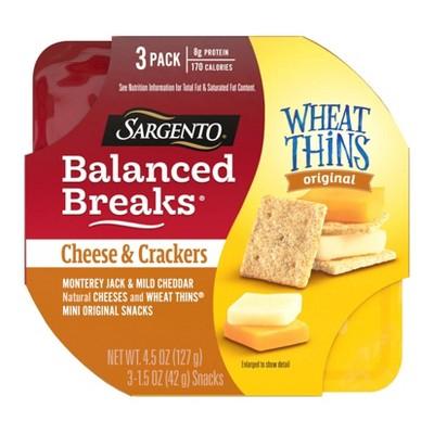 Sargento Balanced Breaks Cheese & Mini Wheat Thin Crackers - 4.5oz/3ct