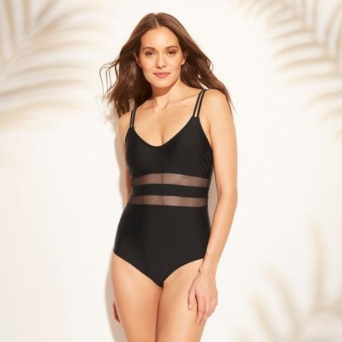 9e568f7c6 Women's Mesh Inset One Piece Swimsuit - Kona Sol™ Black : Target