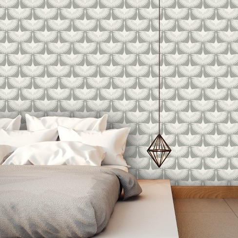 Feather Flock Self Adhesive Removable Wallpaper By Genevieve Gorder Chalk